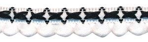 2-kleurig lusjesband wit-zwart 15 mm (ca. 16 meter)