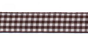 Ruit band bruin-wit 15 mm (ca. 45 m)