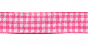 Ruit band fuchsia-wit 15 mm (ca. 45 m)