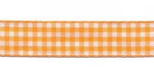 Ruit band oranje-wit 15 mm (ca. 45 m)