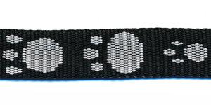 Tassenband 15 mm pootje zwart/wit (ca. 5 m)