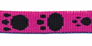Tassenband 15 mm pootje fuchsia/zwart (ca. 5 m)