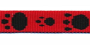Tassenband 15 mm pootje rood/zwart (ca. 5 m)