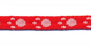 Tassenband 10 mm pootje rood/wit (ca. 5 m)