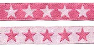 Roze sierband met witte sterren 2-zijdig 12 mm (ca. 22 m)