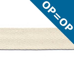 Ongebleekt katoen keperband 20 mm (ca. 45 m)