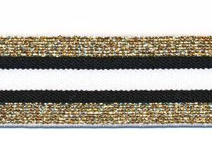 Elastiek gestreept zwart-wit met goud lurex 30 mm (ca. 15 m)