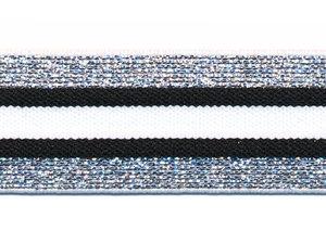 Elastiek gestreept zwart-wit met zilver lurex 30 mm (ca. 15 m)