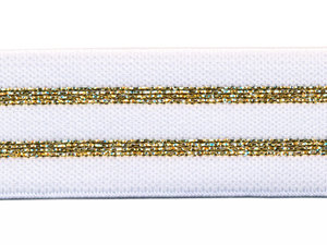 Elastiek gestreept wit met goud lurex 30 mm (ca. 15 m)