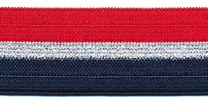 Elastiek gestreept rood-zilver lurex-donker blauw 25 mm (ca. 25 m)
