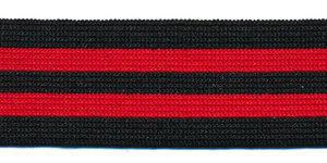 Elastiek gestreept zwart-rood-zwart-rood-zwart 25 mm (ca. 25 m)