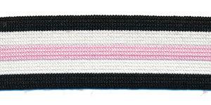Elastiek gestreept zwart-gebroken wit-roze 25 mm (ca. 25 m)