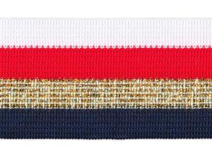 Wit-rood-goud lurex-donker blauw sierband 40 mm (ca. 25 m)
