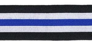 Elastiek gestreept zwart-wit-kobalt blauw 25 mm (ca. 25 m)