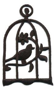 Opstrijkbare applicatie vogel in kooi zwart (5 stuks)