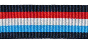 Donkerblauw-rood-wit-blauw-donkerblauw grosgrainband 25 mm (ca. 45 m)