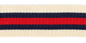 Creme-donkerblauw-rood-donkerblauw-creme grosgrainband 25 mm (ca. 45 m)