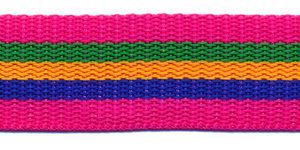 Tassenband 25 mm streep fuchsia/groen/geel/blauw (ca. 5 m)