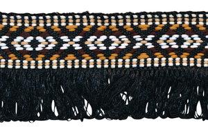 Zwart franjeband aztec-stijl 35 mm (ca. 5 m)