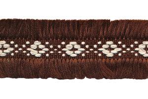 Donker bruin 2-zijdig franjeband aztec-stijl 30 mm (ca. 5 m)