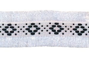 Wit 2-zijdig franjeband aztec-stijl 30 mm (ca. 5 m)