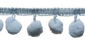 Pompom band blauw/grijs 20 mm (ca. 16 meter)