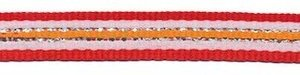 Rood-wit-zilver-oranje streep grosgrain/ribsband 10 mm (ca. 45 m)