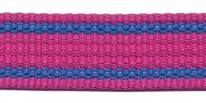 Tassenband 25 mm streep roze/blauw EXTRA STEVIG (ca. 5 m)