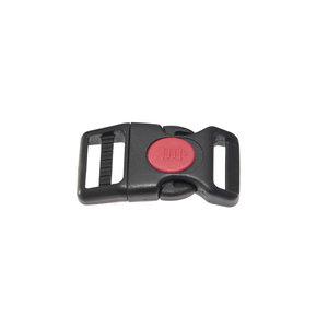 Gebogen verstelbare klikgesp zwart kunststof met rode (ronde) veiligheidssluiting 20 mm (10, 50, 100, ... stuks)