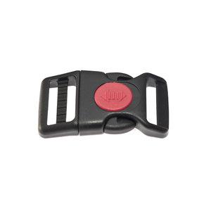 Gebogen verstelbare klikgesp zwart kunststof met rode (ronde) veiligheidssluiting 25 mm (10, 50, 100, ... stuks)