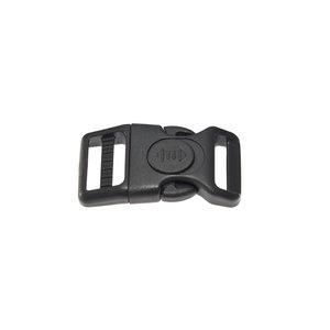 Gebogen verstelbare klikgesp zwart kunststof met zwarte (ronde) veiligheidssluiting 20 mm (10, 50, 100, ... stuks)