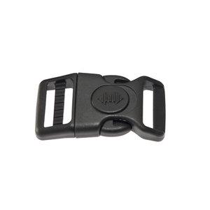 Gebogen verstelbare klikgesp zwart kunststof met zwarte (ronde) veiligheidssluiting 25 mm (10, 50, 100, ... stuks)