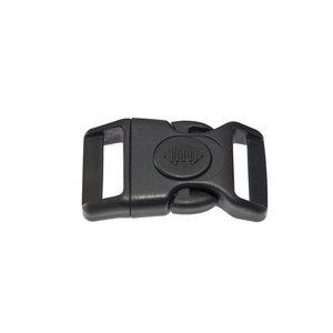 Gebogen klikgesp zwart kunststof met zwarte (ronde) veiligheidssluiting 25 mm (10, 50, 100, ... stuks)