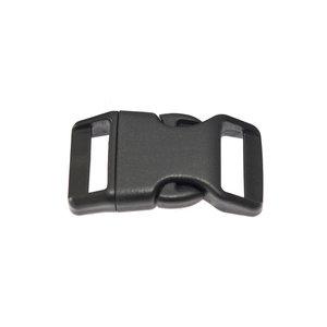 Gebogen klikgesp zwart kunststof 25 mm (10, 50, 100, ... stuks)