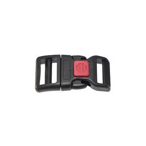 Gebogen verstelbare klikgesp zwart kunststof met rode (rechth.) veiligheidssluiting 20 mm (10, 50, 100, ... stuks)