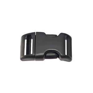 Gebogen verstelbare klikgesp zwart kunststof 20 mm (10, 50, 100, ... stuks)