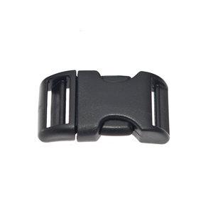 Gebogen verstelbare klikgesp zwart kunststof 25 mm (10, 50, 100, ... stuks)