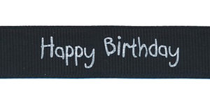 Zwart grosgrainband Happy Birthday 16 mm (ca. 20 m)