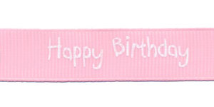 Roze grosgrainband Happy Birthday 16 mm (ca. 20 m)