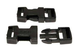 Klikgesp zwart kunststof 20 mm (10 stuks)