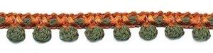 2-kleurig bolletjesband oranje-legergroen 10 mm (ca. 16 meter)
