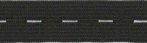 Zwart knoopsgatenelastiek 18 mm (spoel van ca. 100 m)