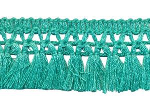 Franje-kwastjesband appelblauwzeegroen ca. 32 mm (ca. 16 meter)
