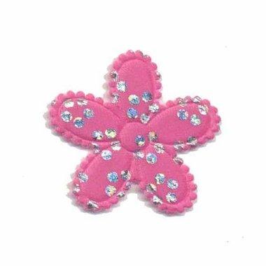 Applicatie bloem satijn roze met zilveren bloemetje middel (ca. 100 stuks)