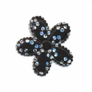 Applicatie bloem satijn zwart met zilveren bloemetje middel (ca. 100 stuks)