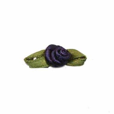 Roosje satijn donker blauw op blad 10 x 30 mm (ca. 25 stuks)