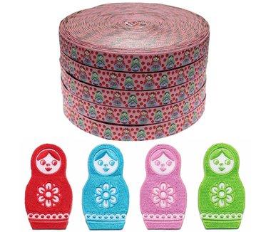 Set rode-blauwe-roze-groene babushka applicaties (4x5 stuks) en roze-rood babushka met stippen sierband 15 mm van (ca. 22 meter)