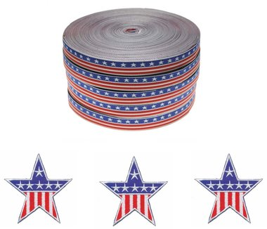 Set Stars & Stripes applicaties (15 stuks) en sierband 12 mm (ca. 22 m)
