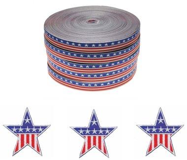 Set Stars & Stripes applicaties (15 stuks) en sierband 12 mm (ca. 22 m)