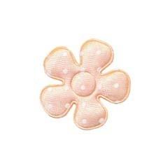 Applicatie bloem oranje/zalm met witte stippen satijn klein 27 mm (ca. 100 stuks)
